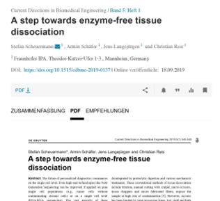 A step towards enzyme-free tissue dissociation