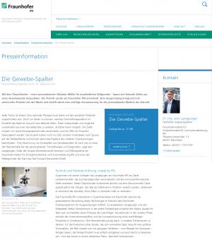 Die Gewebe-Spalter - Pressemitteilung Fraunhofer IPA